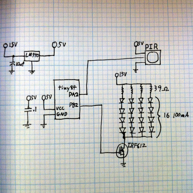 Schematic: Simple automatic kitchen sink light