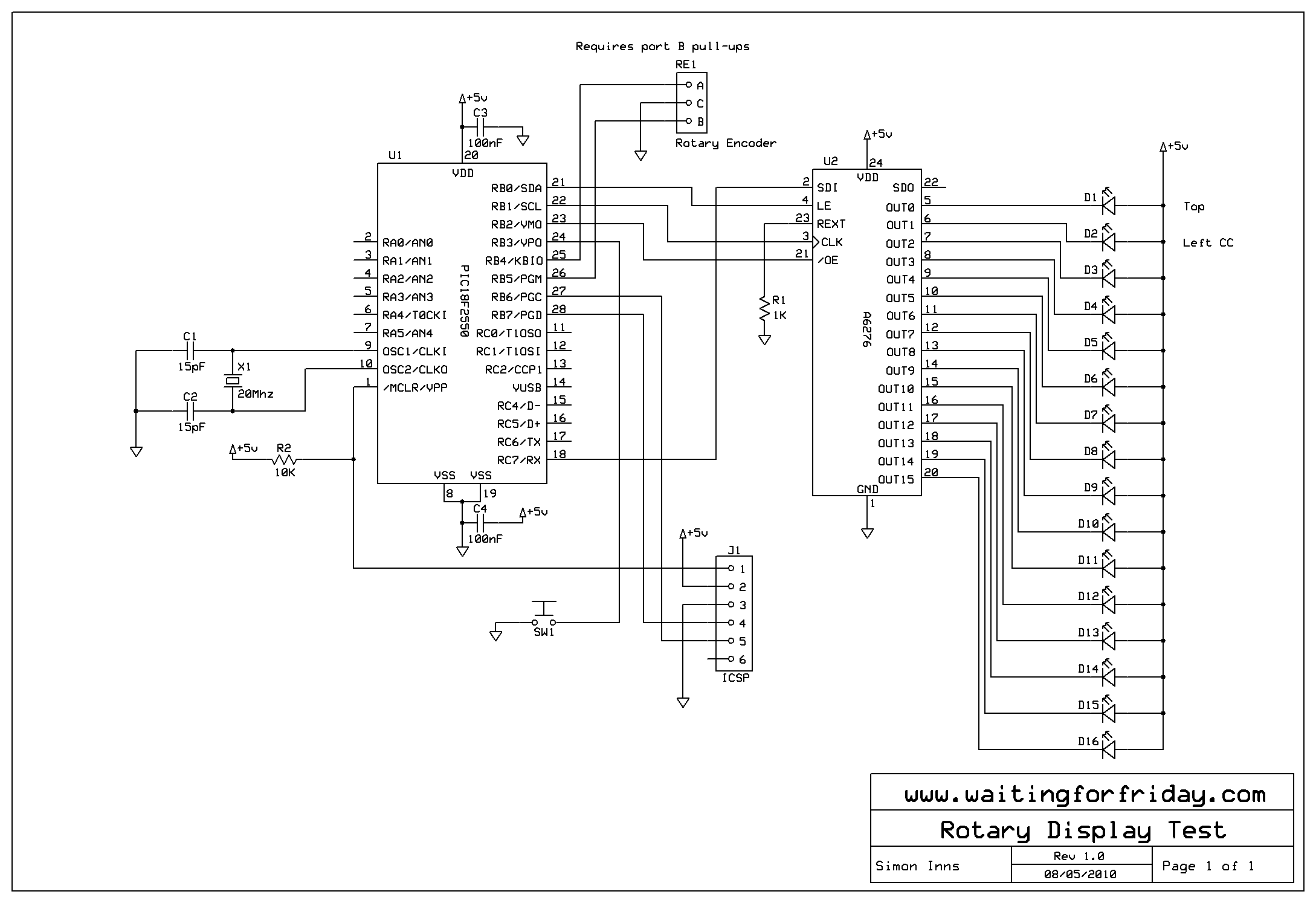 The schematic for the circuit used in this demonstration is as follows.  I built the encoder and display on a simple...