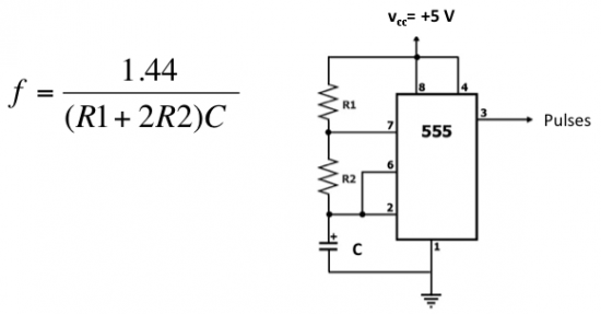 output frequency of a 555 astable multivibrator