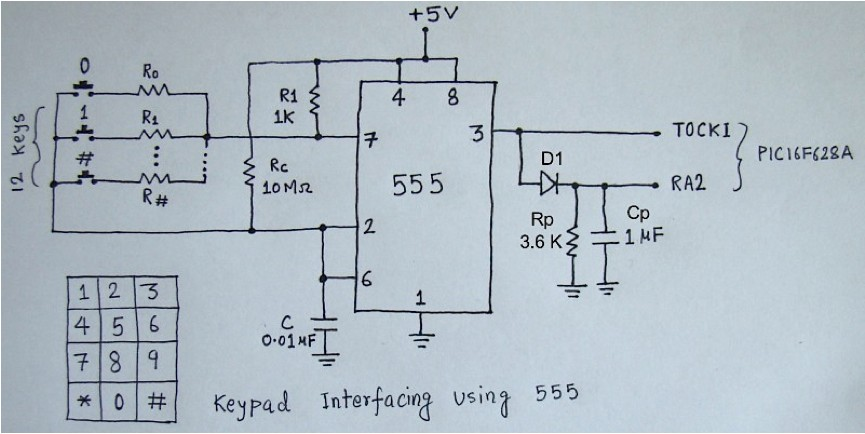 Schematic: 2-Wire Keypad Interface Using a 555 Timer