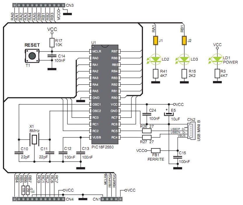 StartUSB for PIC Schematic Diagram