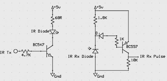 npn), управляющий ИК светодиодом.  Отраженный сигнал поступает на фотодиод в схеме преобразования...  BC547.