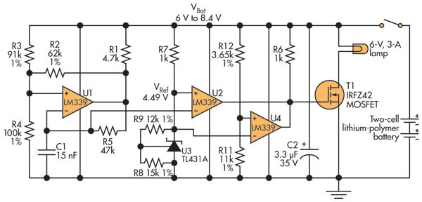 Voltage Down-Converter Lets Two-Cell LiPo Battery Power 6-V Devices
