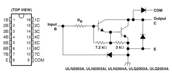 Pin diagram and schematic of ULN2003A (Darlington transistor arrays)