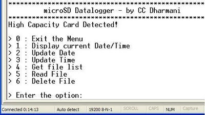 microSD ATmega32 Data-Logger : menu will be displayed on the Hyper terminal