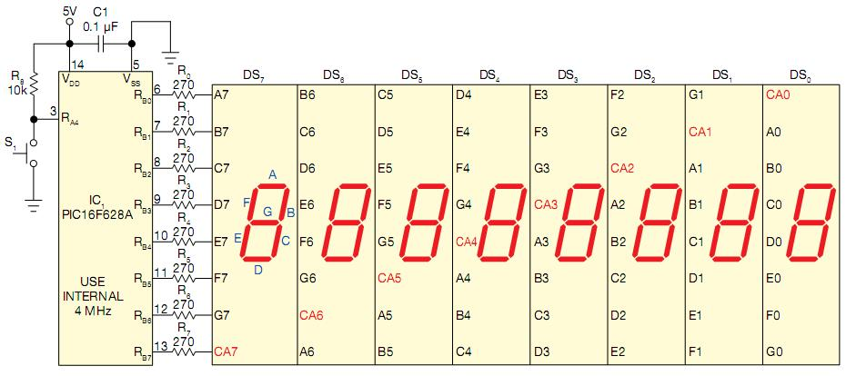 Eight-digit counter works with  common anode or common cathode