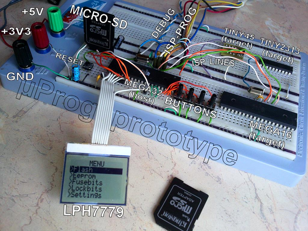 µProg - tiny, fast, portable AVR programmer with SD