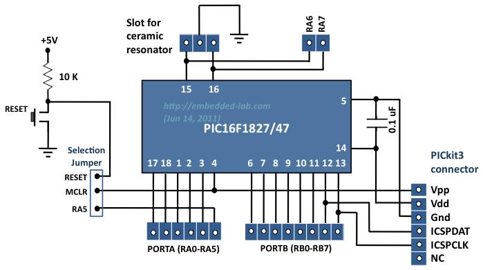 Микроконтроллер и коннекторы  сигналами линий ввода/вывода
