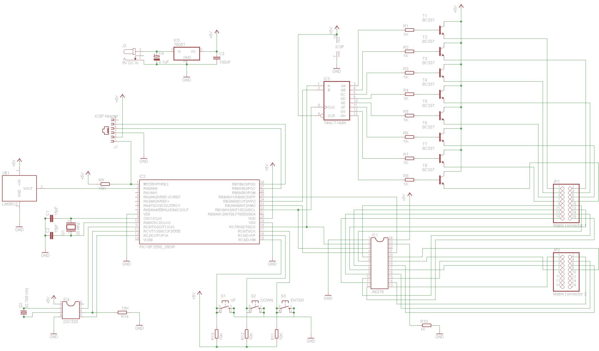 Принципиальная схема часов на микроконтроллере PIC18F2550 с матричным светодиодным дисплеем.