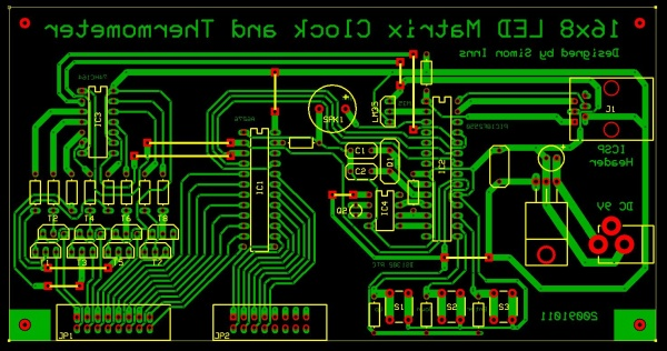 16x8 LED Matrix Display: Control board PCB layout