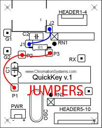 Quick Key Adapter, 10 Button HID Keyboard: connected  Jumpers