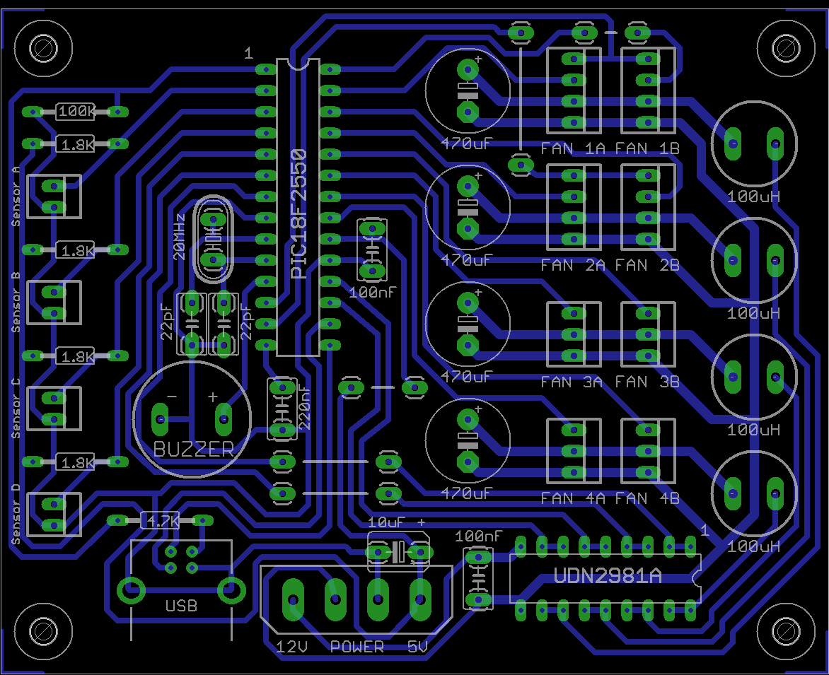 Intelligent Fan Controller - PCB and components