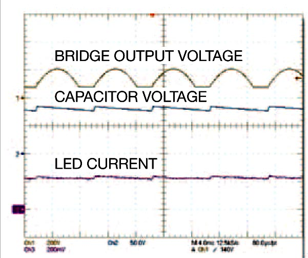 When the voltage from the bridge increases to more than 80V, the chopper circuit switches and limits the voltage applied to the regulator circuit.