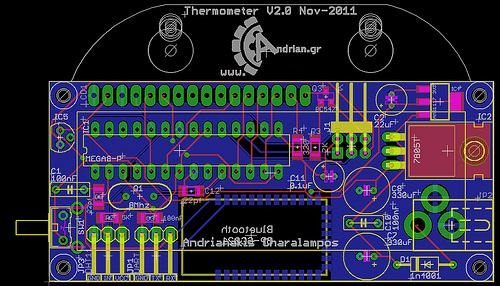 Inside and Outside Thermometer on AVR micro: Eagle project
