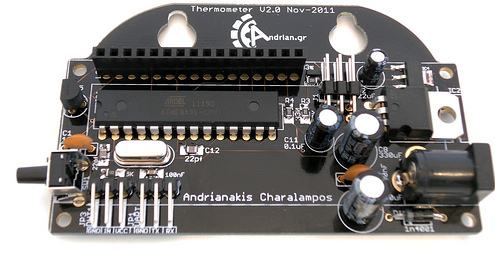 Inside and Outside Thermometer on AVR micro: PCB with installed components