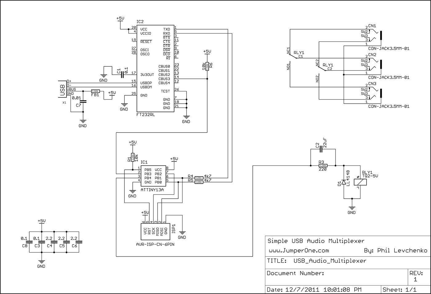USB Audio Multiplexer Schematic