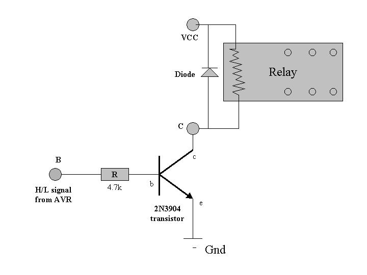With this circuit, about 5 volts will be applied if the input control signal at B is high, which is large enough to trigger the relay