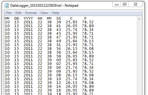 Sample ASCII log file