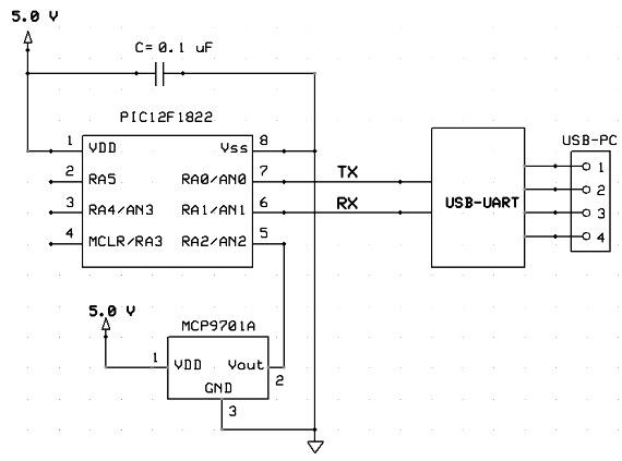 Схема датчика температуры для
