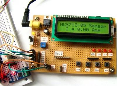 Макетная плата для экспериментов с датчиком тока ACS712
