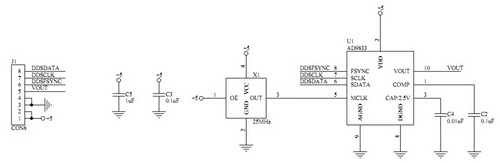 DDS Function Generator: DDS Board Schematic
