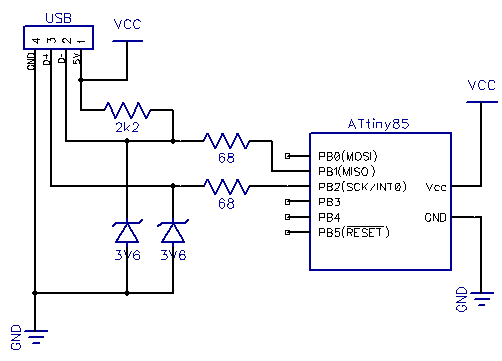 Схема: USB генератор пароля в корпусе флешки на микроконтроллере AVR