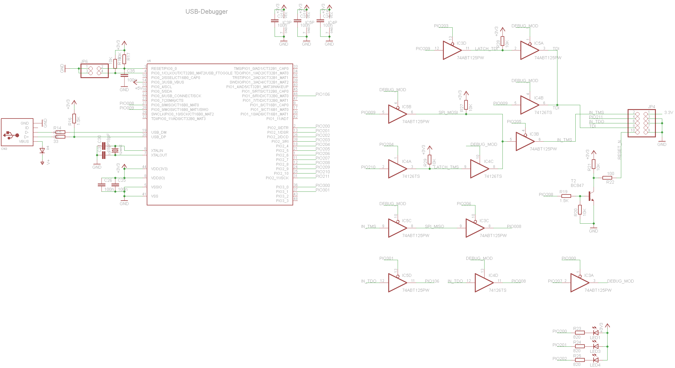 SimpleCortex Onboard debugger Schematic Diagram