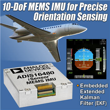 Analog Devices, Inc. introduced a 10-degree-of-freedom (DoF) MEMS inertial measurement unit (IMU) ADIS16480