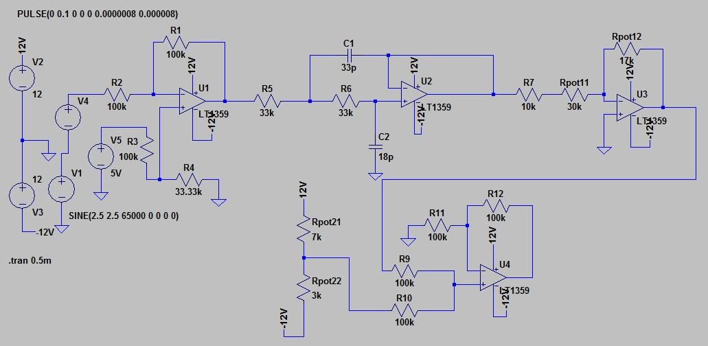 Схема аналоговой части DDS генератора в симуляторе LTSpice.