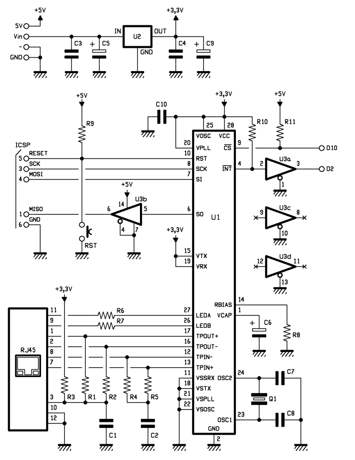 Schematic: Ethernet Shield for Arduino