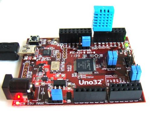 Датчик DHT11 подключенный к платформе chipKIT UNO32