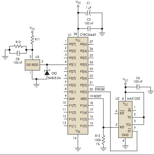 circuit connects the DS18S20 1-Wire temperature sensor to a Cypress CY8C26443 PSoC microcontroller,
