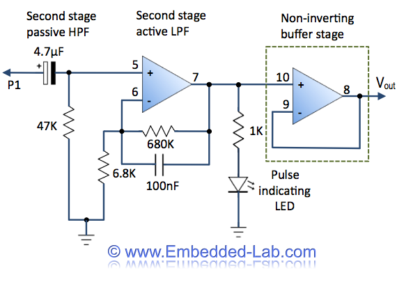 Easy Pulse: A DIY photoplethysmographic sensor for measuring heart rate. Schematic