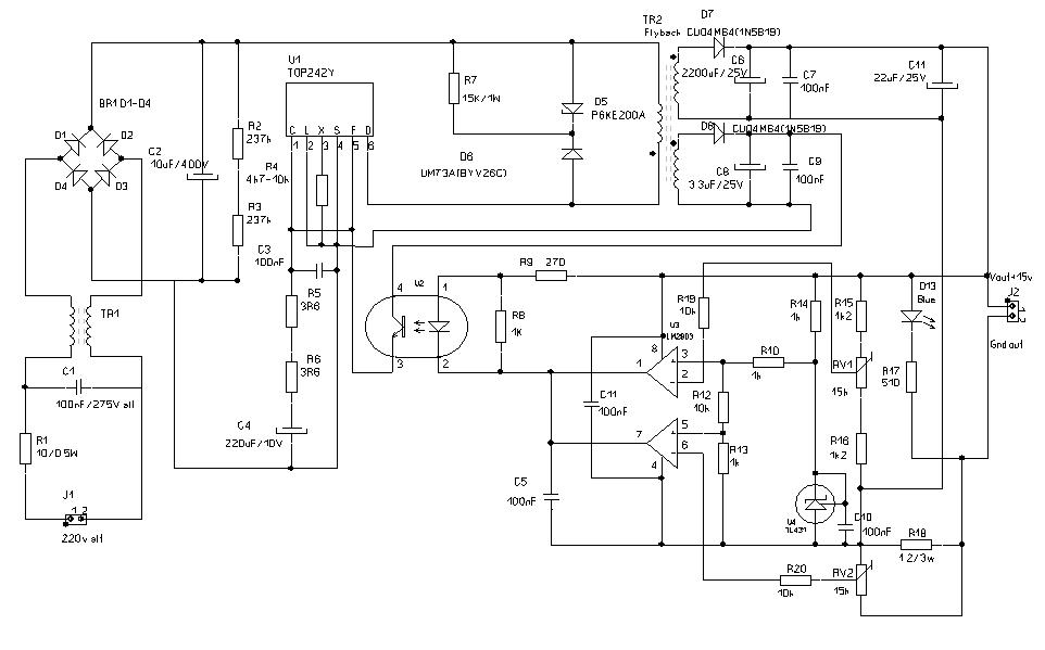 Принципиальная схема импульсного ИП светодиодов