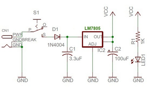 Regulated +5V power supply unit