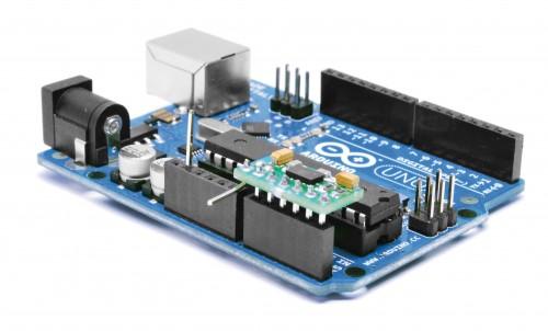 Установка модуля акселерометра на плату Arduino. Используется порт аналоговых входов.