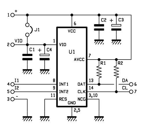 Принципиальная схема модуля акселерометра MMA7455L