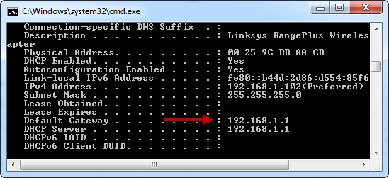 IP-address of your router (Default Gateway)