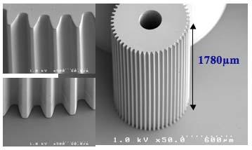 A tall, high aspect ratio gear made using LIGA technology