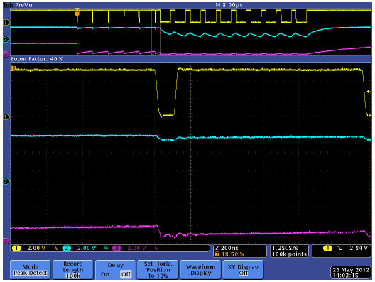 The narrow CLOCK pulse that writes a logical 1 is seen here.