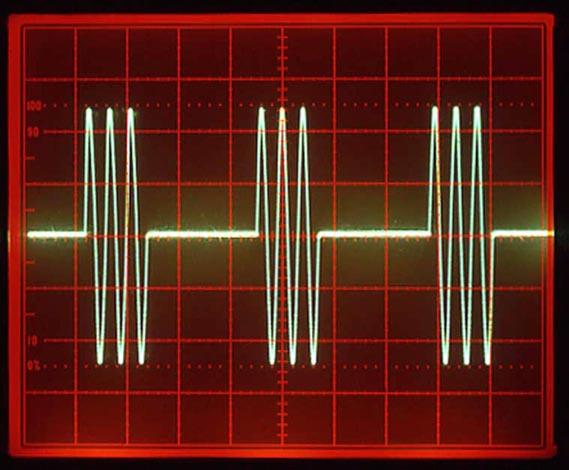 Three cycle burst of sine wave