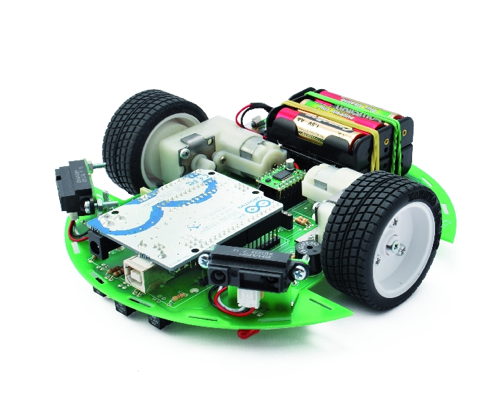 Ardusumo robot is very simple: the core is an Arduino UNO board, interfaced with four sensors - three in front and one on the back- and two Sharp infrared radar.