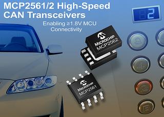 Компания Microchip сообщила о выпуске нового семейства высокоскоростных CAN приемопередатчиков MCP2561 и MCP2562
