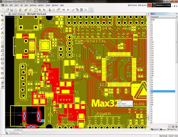 Вид экрана программы DesignSpark PCB