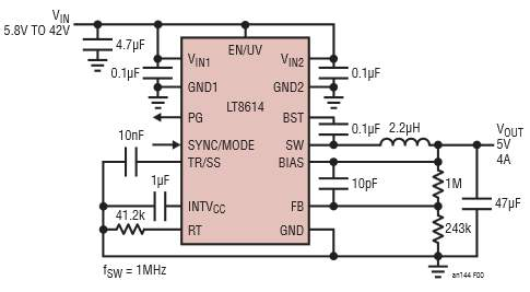 The LT8614 Silent Switcher Minimizes EMI/EMC Emissions While Delivering High Efficiency at Frequencies Up to 3 MHz