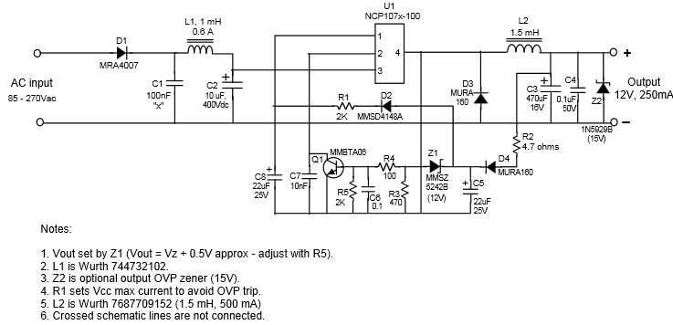 Off-line buck converter with charge pump voltage sensing