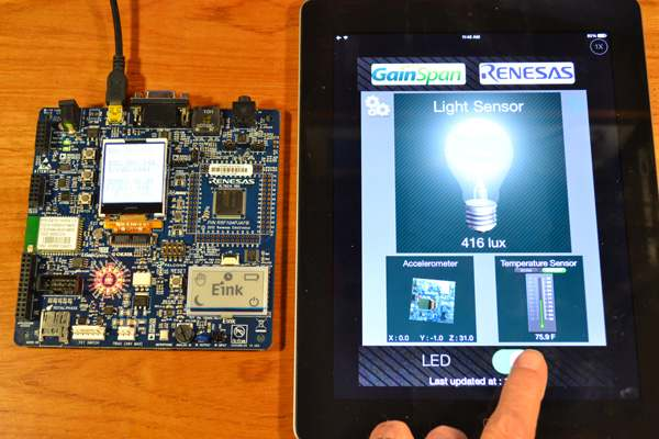 Renesas RL78G14 Demonstration Kit - Sensor reading and lighting control via the iPad app.