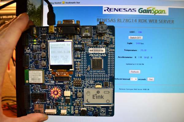 Renesas RL78G14 Demonstration Kit - Sensor reading and board control over the Internet.