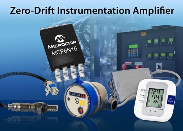 Zero-Drift Instrumentation Amplifier From Microchip Provides Low Power and High Accuracy With Self-Correcting Architecture