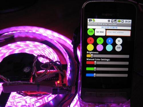 Внешний вид системы управления RGB светодиодной лентой по Bluetooth интерфейсу.